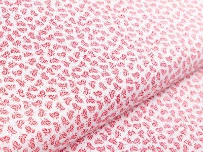 Webware Baumwolle - feine Blätter - weiß/rot