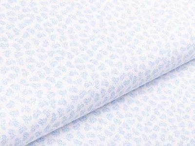 Webware Baumwolle - feine Blätter - weiß/blau