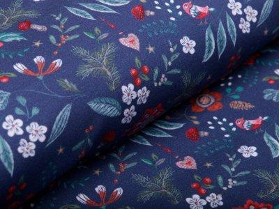 Sweat French Terry Digitaldruck - Herbstblumen - jeansblau