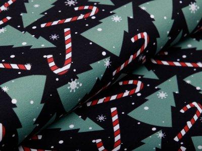 Leicht angerauter Sweat Swafing Frohe Weihnachten - Zuckerstangen und Tannenbäume - schwarz