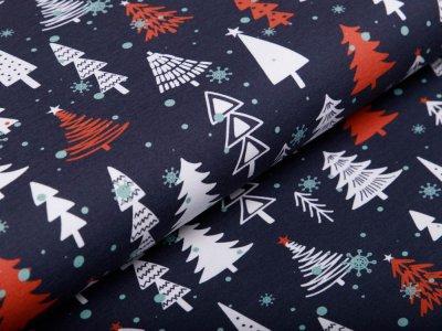 Leicht angerauter Sweat Swafing Frohe Weihnachten - Weihnachtsbäume - dunkles grau