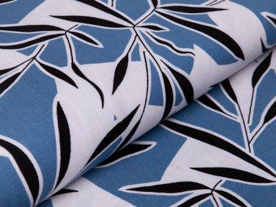 Webware Viskose Leinenoptik - Abstraktes Muster - jeansblau