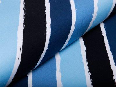 Sweat French Terry Swafing Diagonally by Lycklig Design - diagonale Streifen - weiß/blau