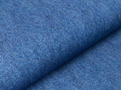 Sweat French Terry Digitaldruck in Jeansoptik - blau
