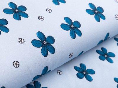 Sweat French Terry - Blüten - helles blau
