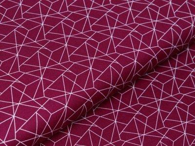 Webware Baumwolle - geometrisches Muster - aubergine