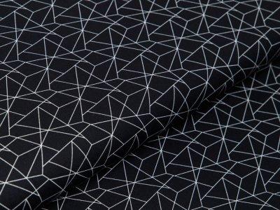 Webware Baumwolle - geometrisches Muster - schwarz