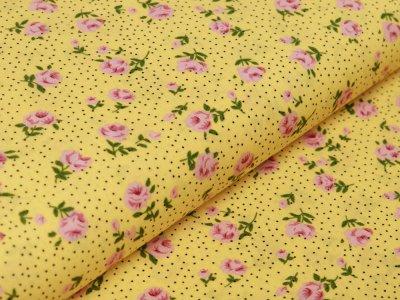 Webware Viskose - Rosen auf Punkten - gelb