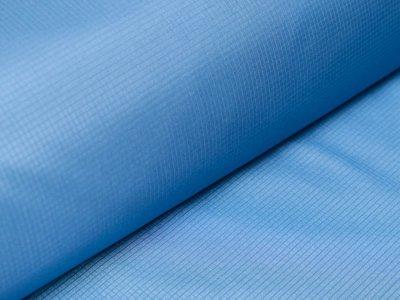 Leichter Hochwertiger Jackenstoff gummiert - mini Karomuster - helles blau