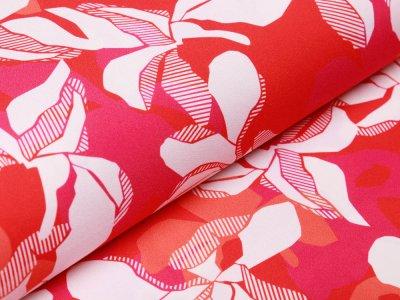 Webware Baumwolle - Blüten - rot