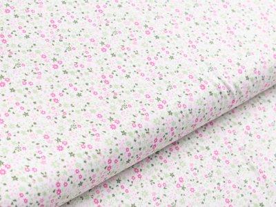 Webware Viskose - Blumen - weiß/rosa