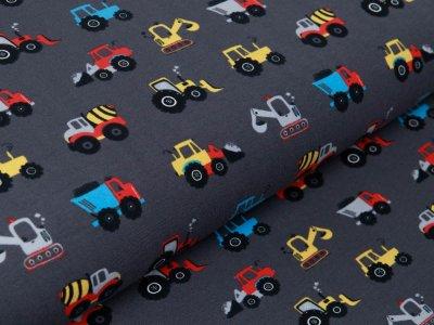 Jersey - verschiedene Baufahrzeuge - dunkles grau
