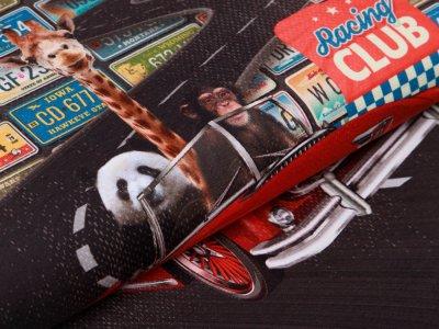 Jersey Digitaldruck Racing Club PANEL ca. 75 cm x 150 cm - tierische Autofahrt - petrol