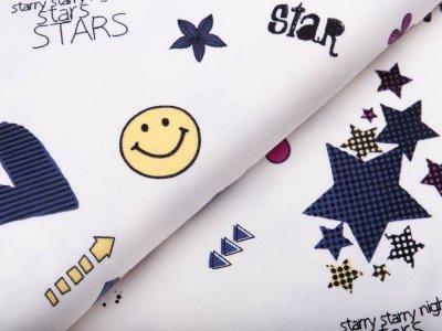 Jersey Avalana- Sterne und Herzen - weiß