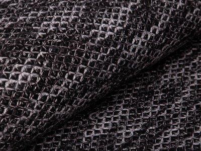 Mantel- und Jackenstoff - aufgenähte Fäden - anthrazit/weiß
