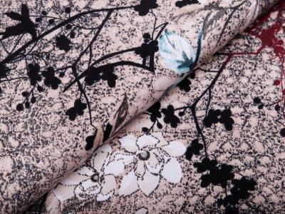 Jersey Avalana - Blumen - beige