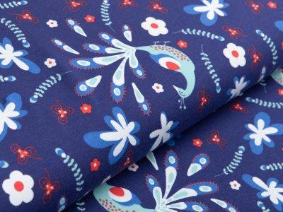 Jersey - Evelyn Lisi Design Limited Edition - Pfauen und Blumen - blau