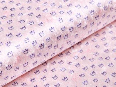 Pannesamt Sanetta - kleine Kronen und Punkte - rosa