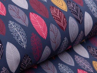 Softshell Jackenstoff Digitaldruck KATINOH Limited Edition - gemusterte Blätter - jeansblau