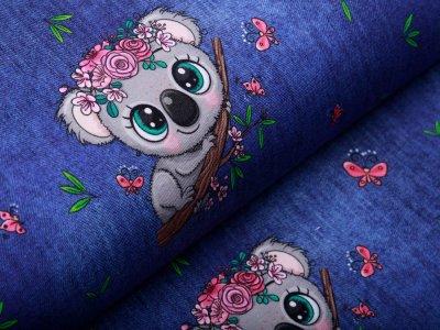 Jersey in Jeansoptik - Koala Mädchen - blau
