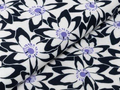 KDS Queen's Collection Rosalina - Webware Viskose - Blumenwiese - nachtblau/weiß/lila