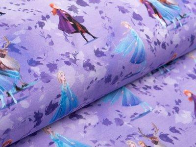 Sweat French Terry Disney-Frozen 2 - Anna und Elsa mit Olaf, Sven und Kristoff - flieder