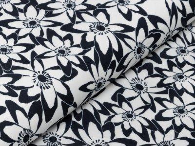 KDS Queen's Collection Rosalina - Webware Viskose - Blumenwiese - nachtblau/weiß