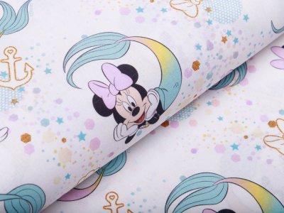 Disney-Webware Popeline Baumwolle - Micky Mouse - Minni als Meerjungfrau - weiß