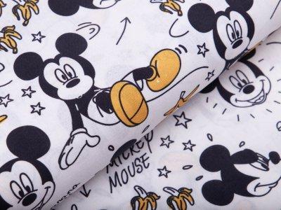 Disney-Webware Popeline Baumwolle - Micky Mouse - Banana Split - weiß