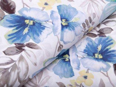 Webware Baumwolle Popeline Digitaldruck - Flowerpower - weiß/blau