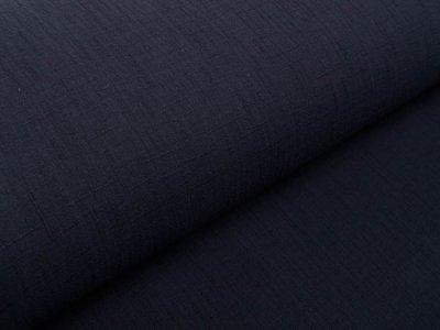 Bambus Musselin Baumwolle Double Gauze Snoozy - Leinenoptik - uni schwarz