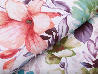 Webware Baumwolle Popeline Digitaldruck - Flowerpower - weiß/orange