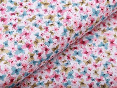 Webware Baumwolle Popeline Digitaldruck - bunte Schmetterlinge - weiß