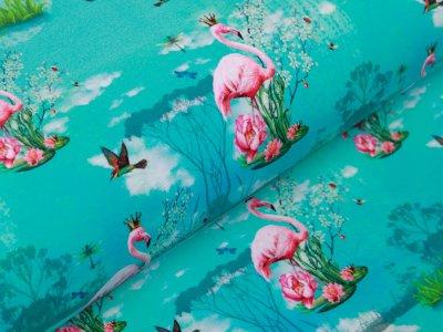 Jersey Digitalprint Stenzo - Flamingos auf Seerosen - türkis