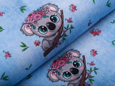 Jersey in Jeansoptik - Koala Mädchen - helles blau