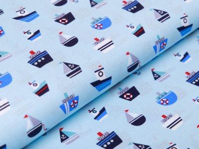 Webware Baumwolle Popeline - Boote und Schiffe - helles blau