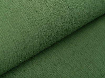 Bambus Musselin Baumwolle Double Gauze Snoozy - Leinenoptik - uni olivgrün