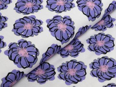 KDS Queen's Collection Rosalina - Webware Viskose - diagonal angeordnete Blüten - weiß/lila