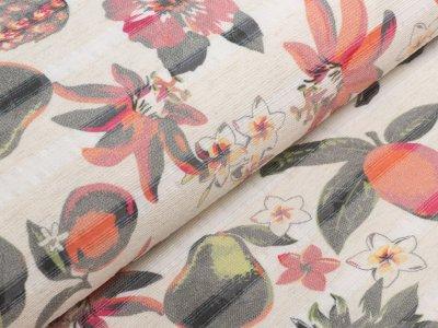 KDS Queen's Collection Kaya - Leicht elastische erhabene Webware mit eingewebten Glanzstreifen in Leinenoptik - tropische Blumen und Früchte - ecru