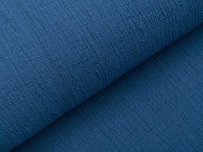 Bambus Musselin Baumwolle Double Gauze Snoozy - Leinenoptik - uni jeansblau