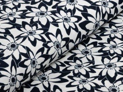 KDS Queen's Collection Jersey Viskose - Blumenwiese - nachtblau/weiß