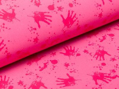 Softshell  Jackenstoff - Handabdrücke und Sterne - pink