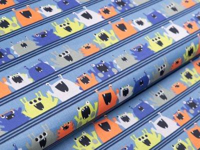 Webware Baumwolle Popeline by Poppy - verrückte Monster auf Streifen - blau