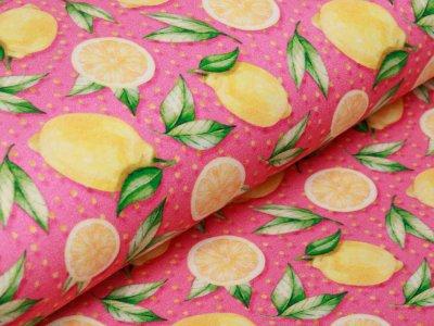 Jersey Digitalprint Stenzo - Zitronen auf Punkten - rosa