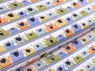 Webware Baumwolle Popeline by Poppy - verrückte Monster auf Streifen - weiß