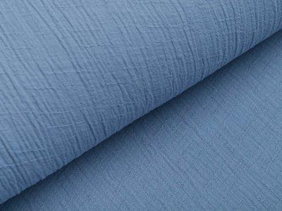 Bambus Musselin Baumwolle Double Gauze Snoozy - Leinenoptik - uni stahlblau