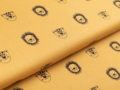 Webware Baumwolle Popeline by Poppy - Wildtiere - ocker