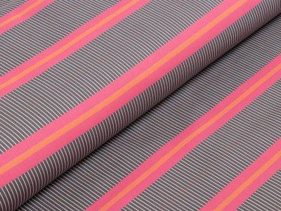 KDS Queen's Collection Kaya - Leicht elastische Webware Baumwolle - Streifen - grau/pink/orange/weiß