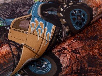 Jersey Digitaldruck PANEL ca. 75 cm x 150 cm - Monstertruck - schraffiert rauchblau