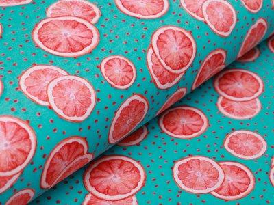 Jersey Digitalprint Stenzo - Orangenscheiben auf Punkten - türkis